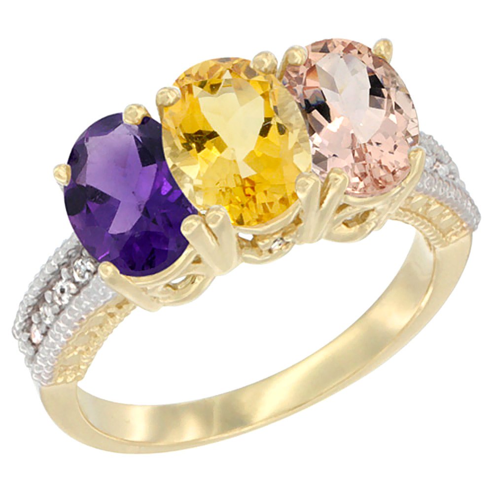 14K Yellow Gold Natural Amethyst, Citrine & Morganite Ring 3-Stone 7x5 mm Oval Diamond Accent, sizes 5 - 10