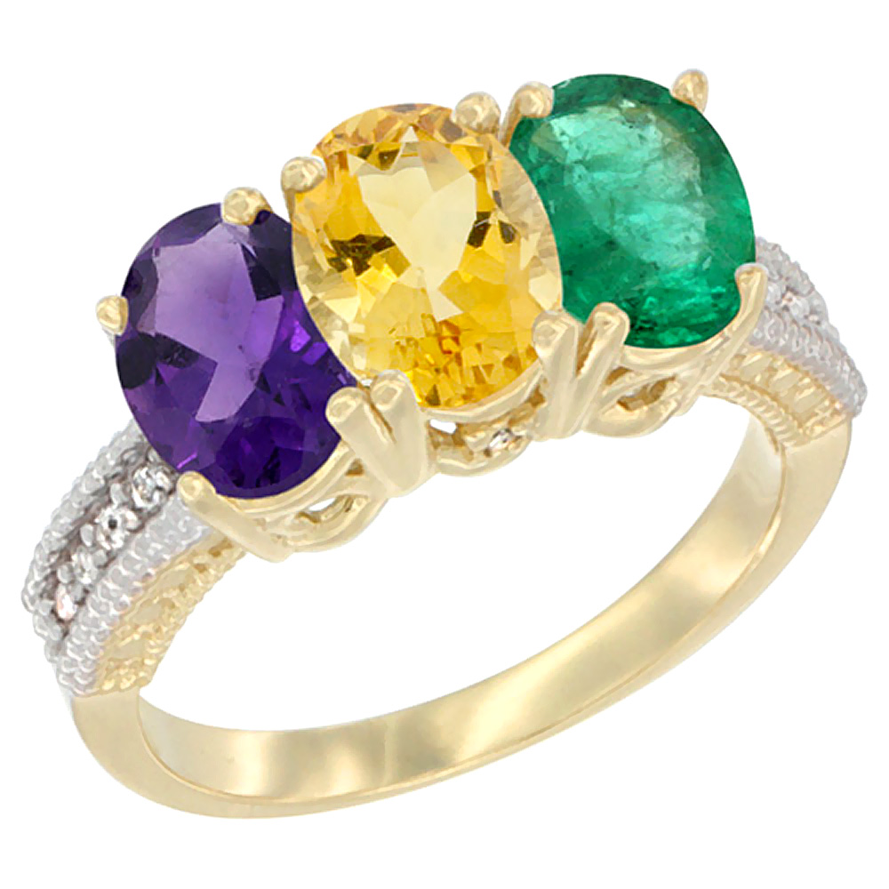 14K Yellow Gold Natural Amethyst, Citrine & Emerald Ring 3-Stone 7x5 mm Oval Diamond Accent, sizes 5 - 10