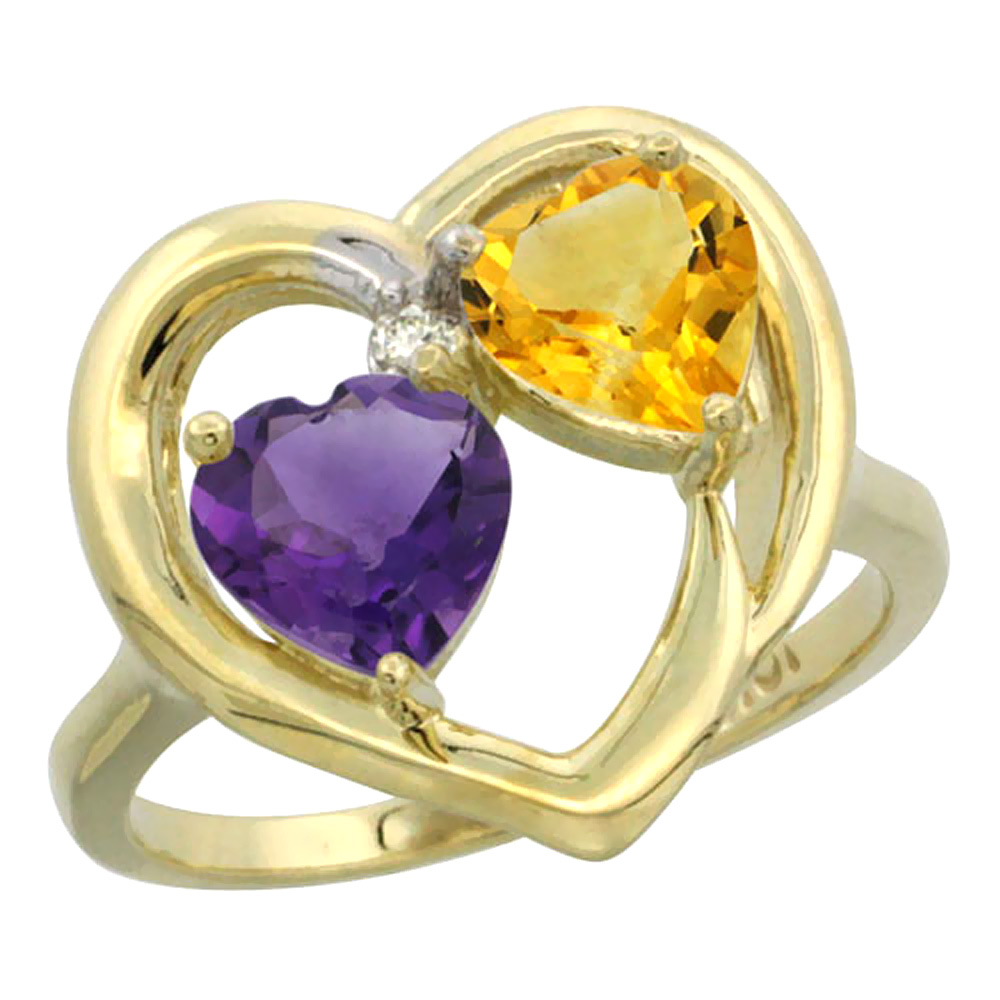 14K Yellow Gold Diamond Two-stone Heart Ring 6mm Natural Amethyst & Citrine, sizes 5-10