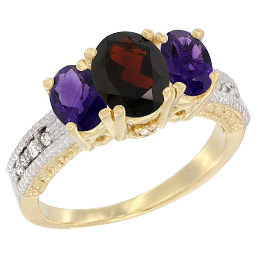 10K Yellow Gold Ladies Oval Natural Garnet Ring 3-stone with Amethyst Sides Diamond Accent