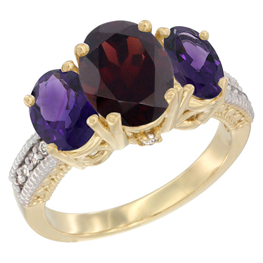 10K Yellow Gold Natural Garnet Ring Ladies 3-Stone Oval 8x6mm with Amethyst Sides Diamond Accent, sizes 5 - 10