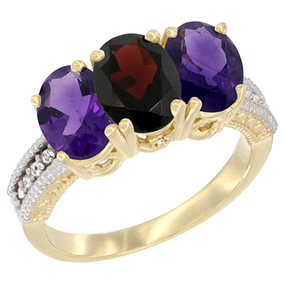 14K Yellow Gold Natural Garnet & Amethyst Ring 3-Stone 7x5 mm Oval Diamond Accent, sizes 5 - 10