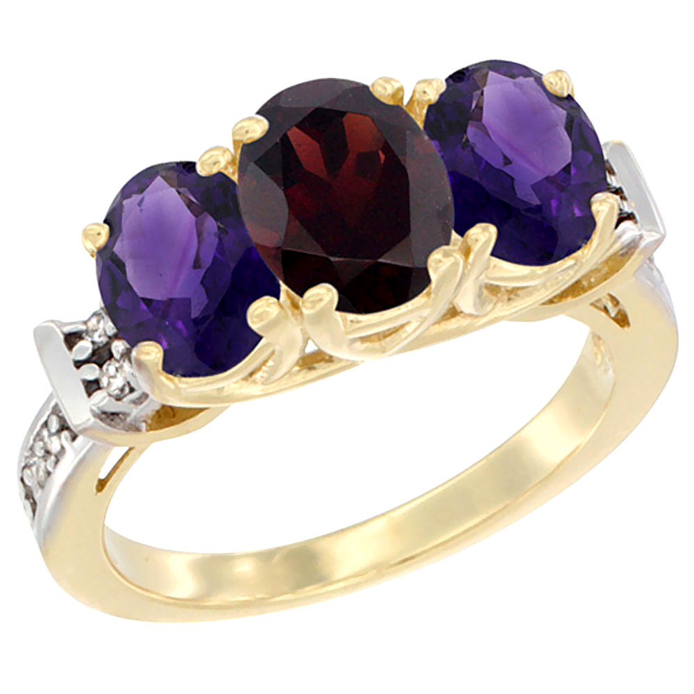10K Yellow Gold Natural Garnet & Amethyst Sides Ring 3-Stone Oval Diamond Accent, sizes 5 - 10