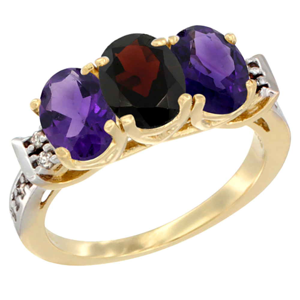 10K Yellow Gold Natural Garnet & Amethyst Sides Ring 3-Stone Oval 7x5 mm Diamond Accent, sizes 5 - 10