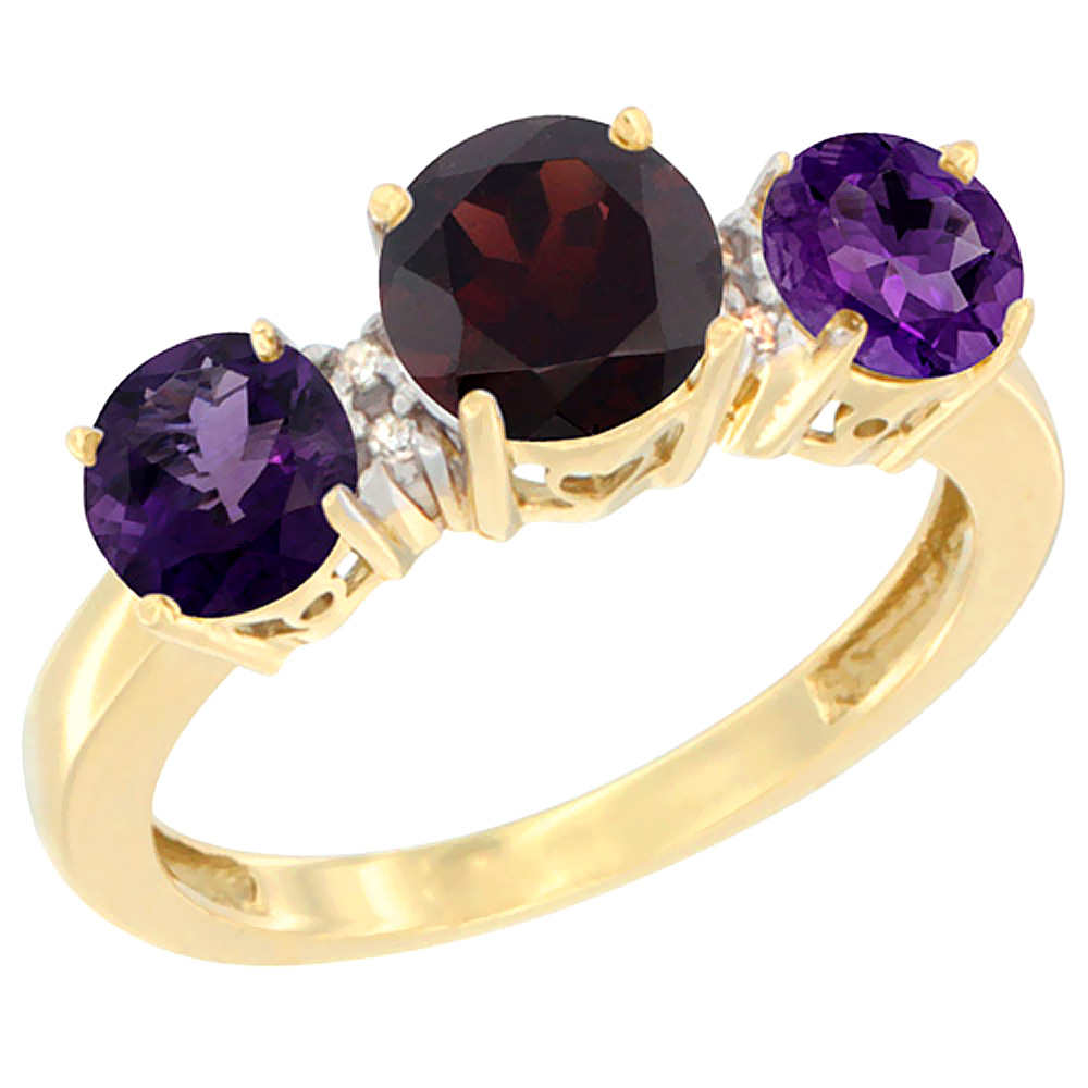10K Yellow Gold Round 3-Stone Natural Garnet Ring & Amethyst Sides Diamond Accent, sizes 5 - 10