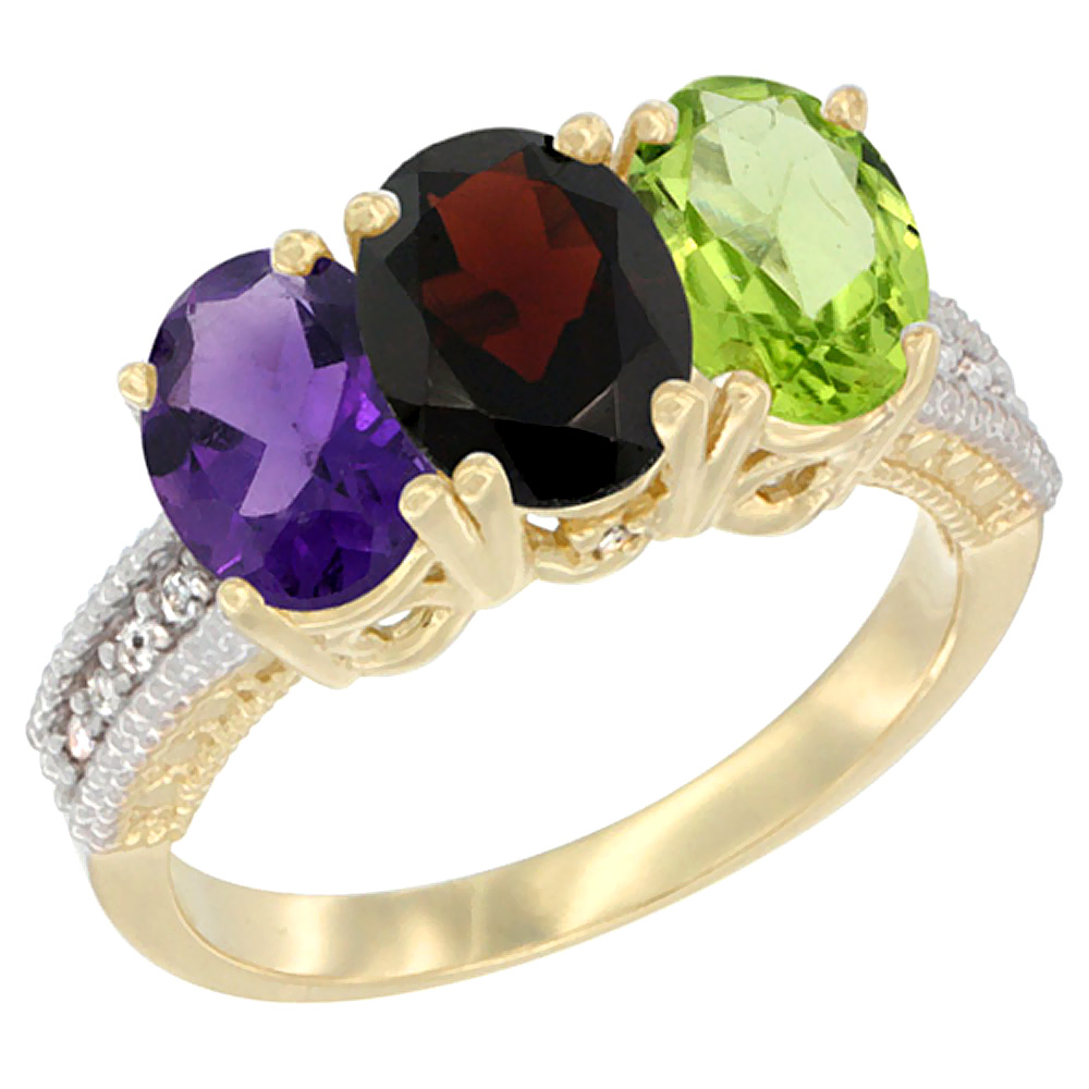 10K Yellow Gold Diamond Natural Amethyst, Garnet & Peridot Ring Oval 3-Stone 7x5 mm,sizes 5-10
