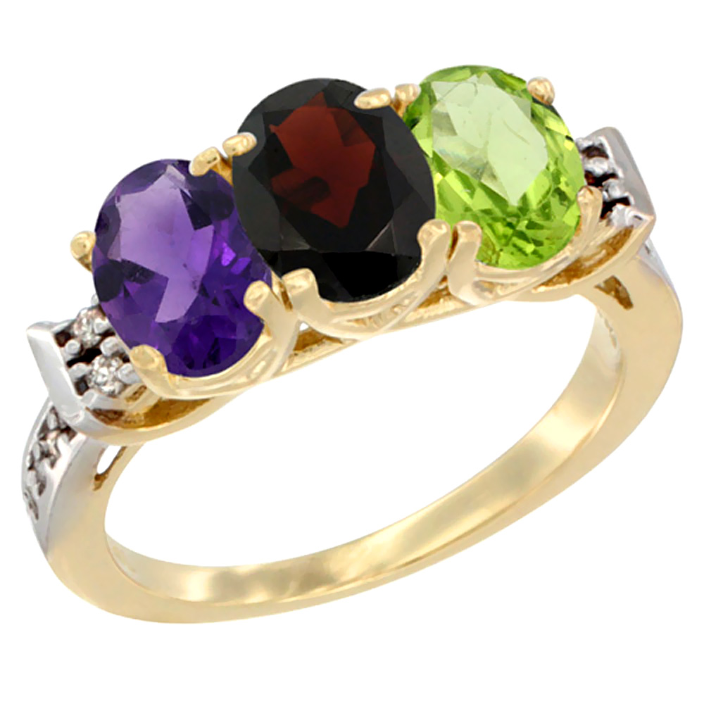 10K Yellow Gold Natural Amethyst, Garnet & Peridot Ring 3-Stone Oval 7x5 mm Diamond Accent, sizes 5 - 10