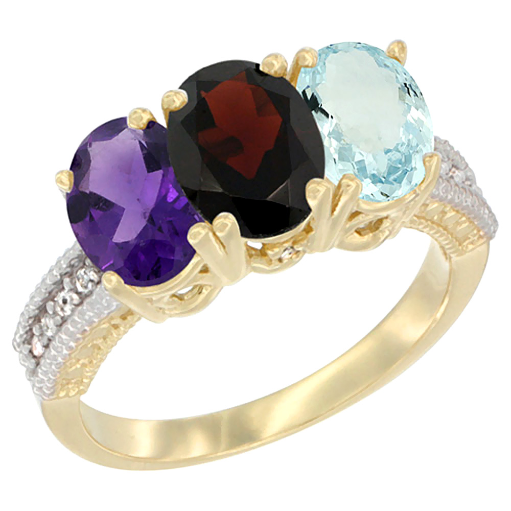 14K Yellow Gold Natural Amethyst, Garnet & Aquamarine Ring 3-Stone 7x5 mm Oval Diamond Accent, sizes 5 - 10
