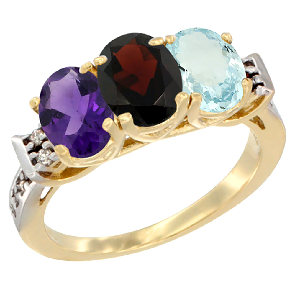 10K Yellow Gold Natural Amethyst, Garnet & Aquamarine Ring 3-Stone Oval 7x5 mm Diamond Accent, sizes 5 - 10