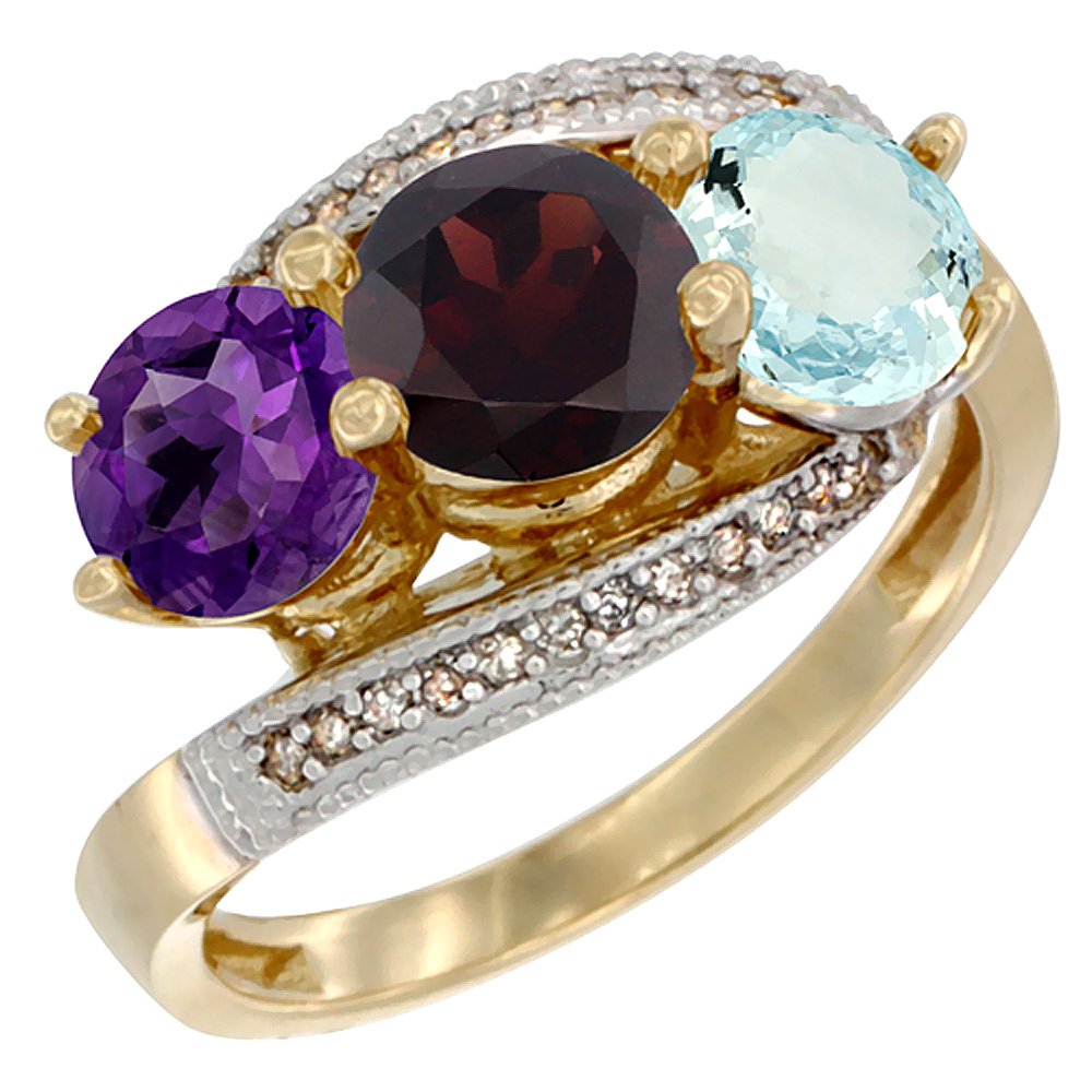 10K Yellow Gold Natural Amethyst, Garnet & Aquamarine 3 stone Ring Round 6mm Diamond Accent, sizes 5 - 10
