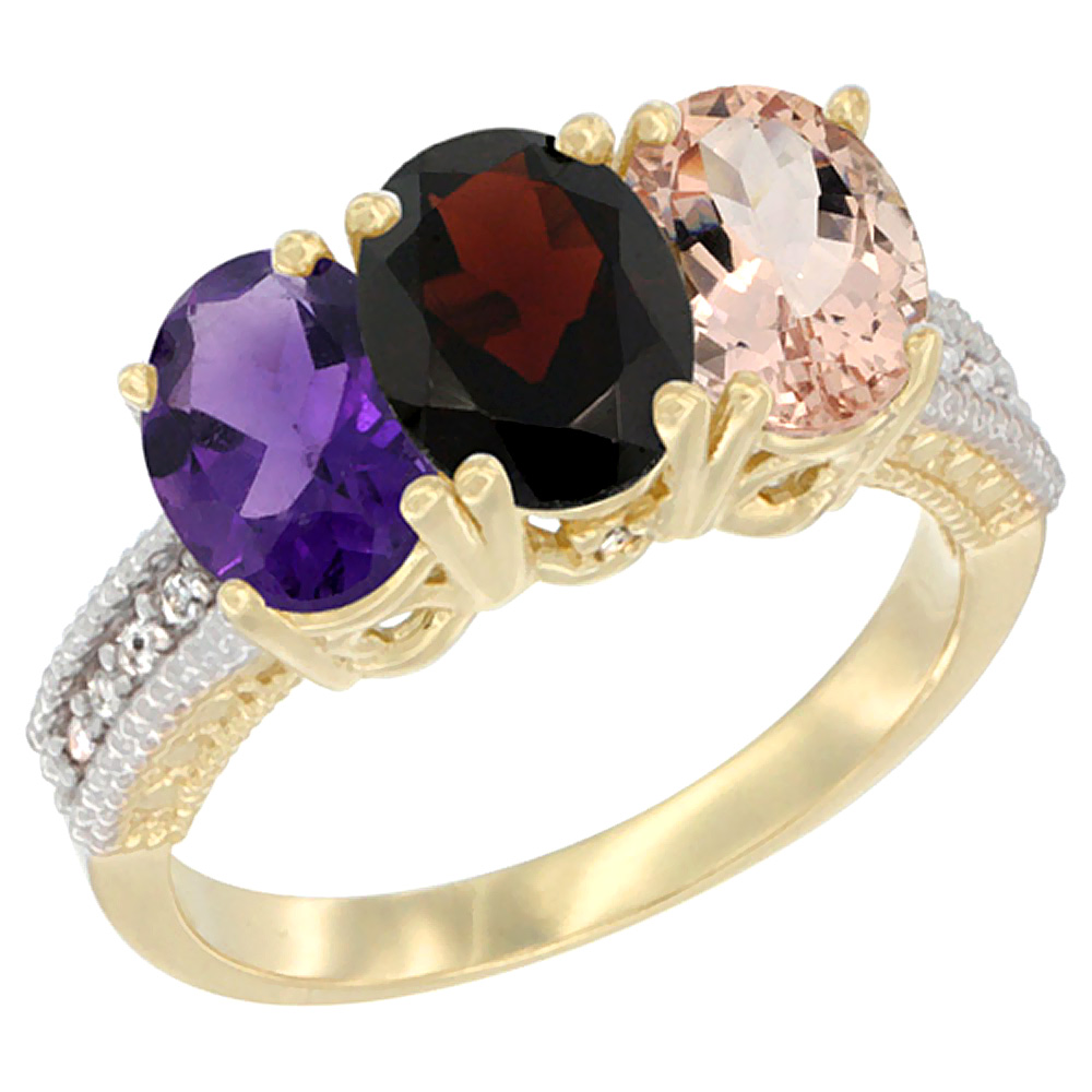 10K Yellow Gold Diamond Natural Amethyst, Garnet & Morganite Ring Oval 3-Stone 7x5 mm,sizes 5-10