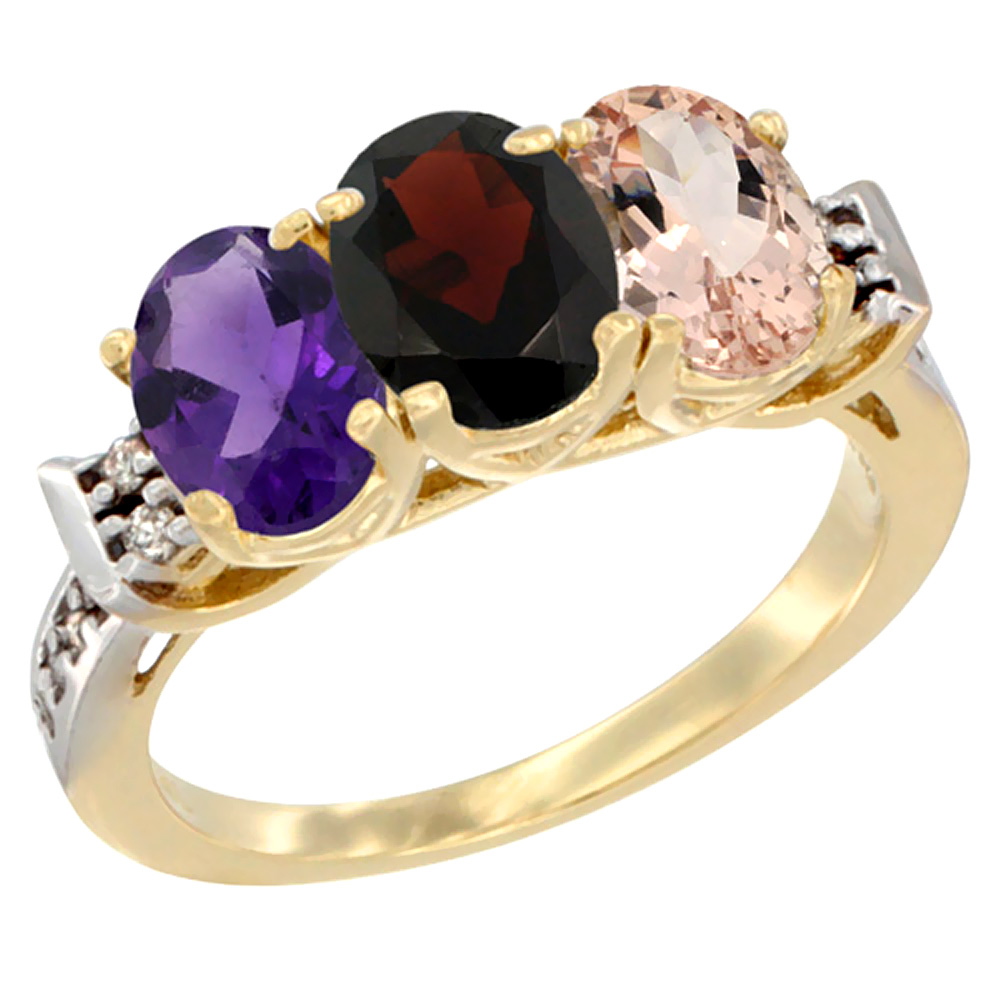 10K Yellow Gold Natural Amethyst, Garnet & Morganite Ring 3-Stone Oval 7x5 mm Diamond Accent, sizes 5 - 10