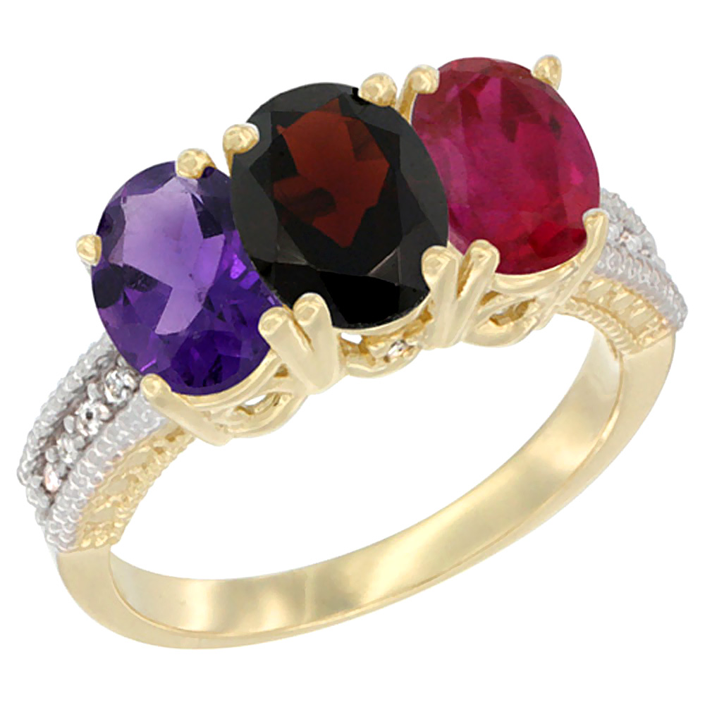 14K Yellow Gold Natural Amethyst, Garnet & Enhanced Ruby Ring 3-Stone 7x5 mm Oval Diamond Accent, sizes 5 - 10