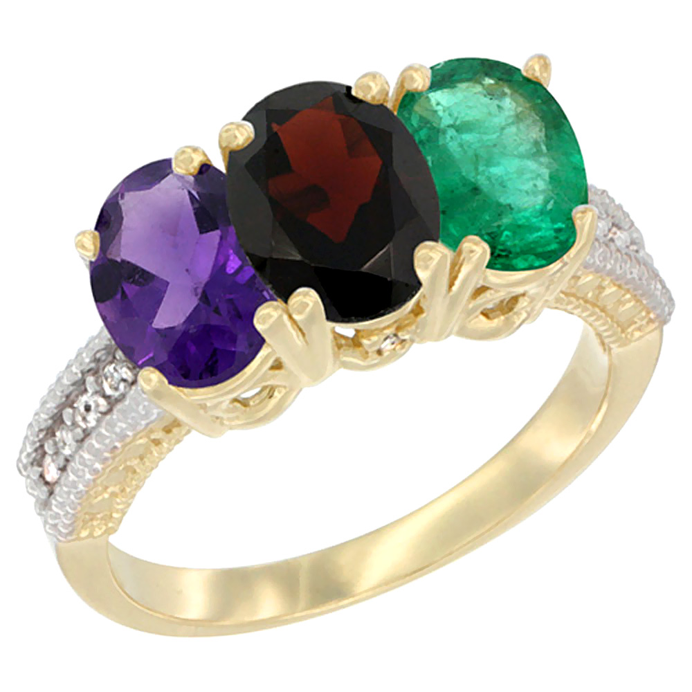10K Yellow Gold Diamond Natural Amethyst, Garnet & Emerald Ring Oval 3-Stone 7x5 mm,sizes 5-10