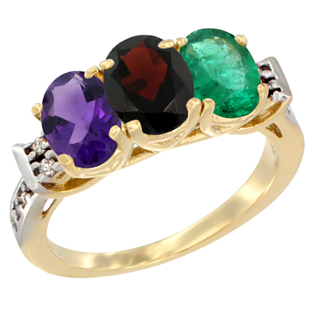 10K Yellow Gold Natural Amethyst, Garnet & Emerald Ring 3-Stone Oval 7x5 mm Diamond Accent, sizes 5 - 10