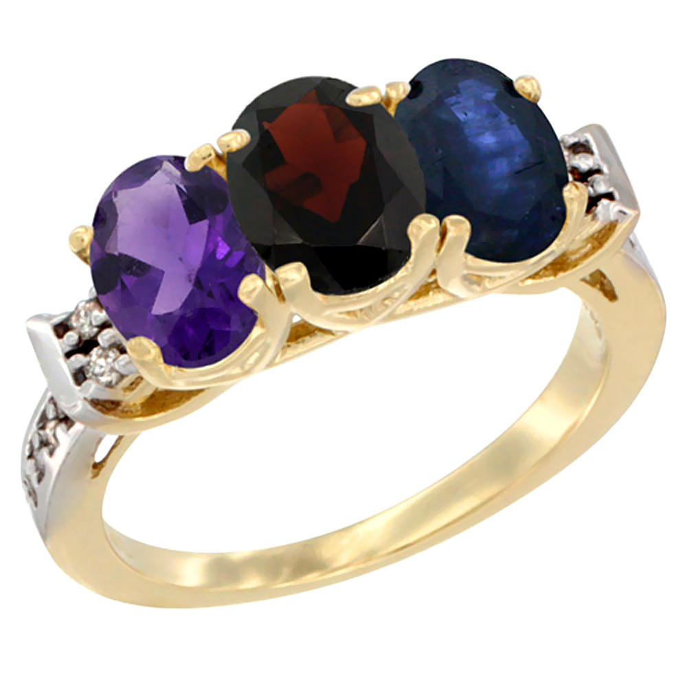 14K Yellow Gold Natural Amethyst, Garnet & Blue Sapphire Ring 3-Stone 7x5 mm Oval Diamond Accent, sizes 5 - 10