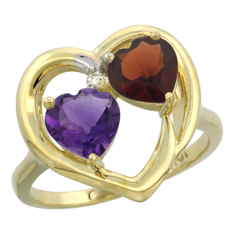 14K Yellow Gold Diamond Two-stone Heart Ring 6mm Natural Amethyst & Garnet, sizes 5-10