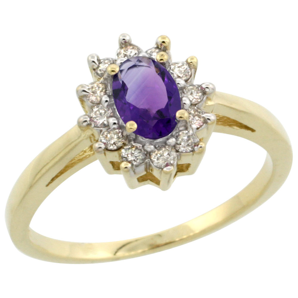 14K Yellow Gold Natural Amethyst Flower Diamond Halo Ring Oval 6x4 mm, sizes 5-10