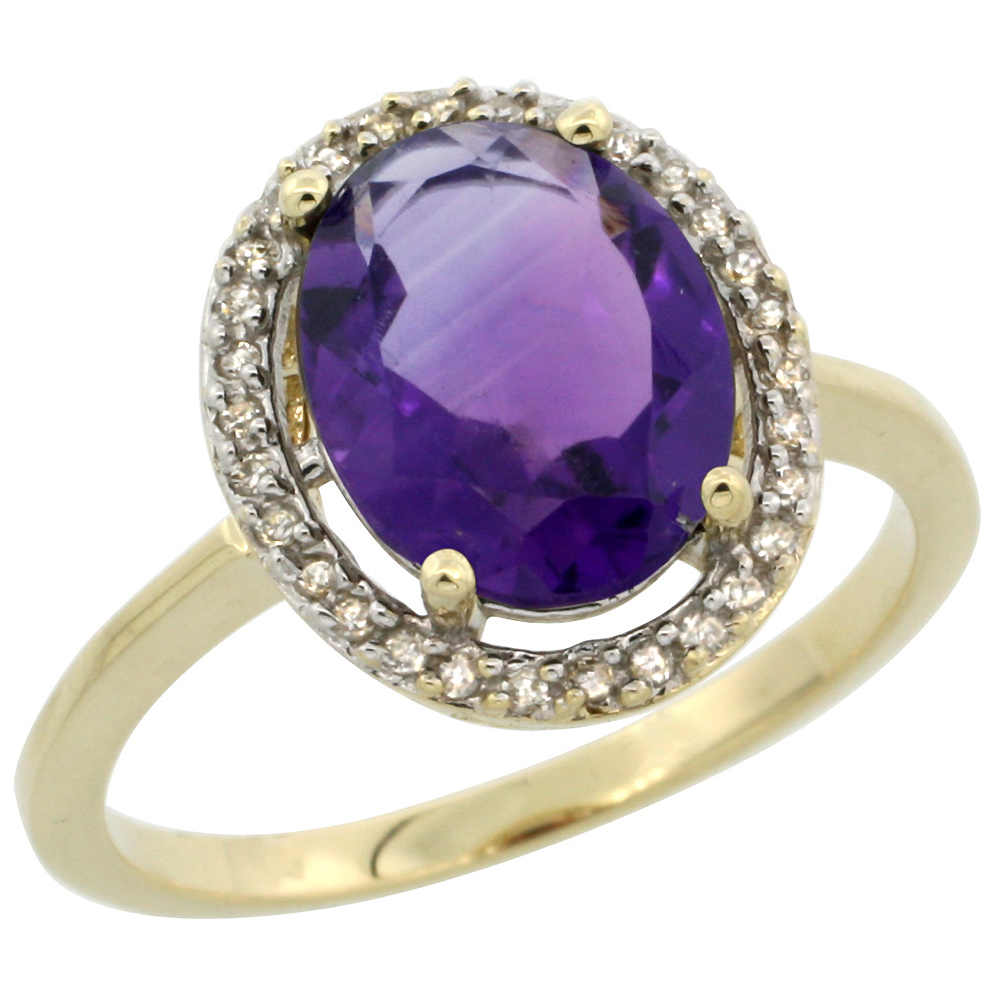 10K Yellow Gold Diamond Halo Natural Amethyst Engagement Ring Oval 10x8 mm, sizes 5-10