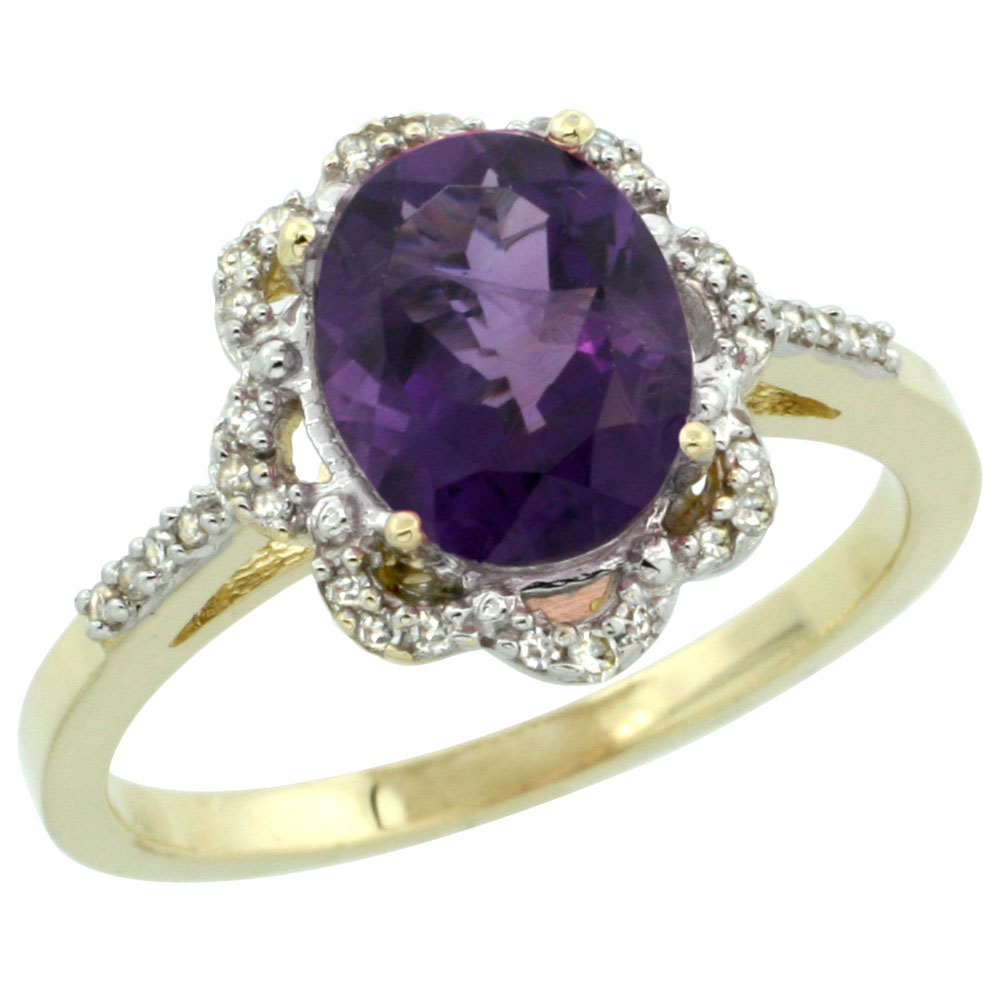 10K Yellow Gold Diamond Halo Genuine Amethyst Engagement Ring Oval 9x7mm sizes 5-10