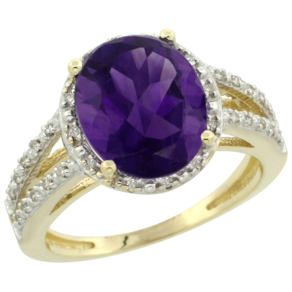 14K Yellow Gold Natural Amethyst Diamond Halo Ring Oval 11x9mm, sizes 5-10