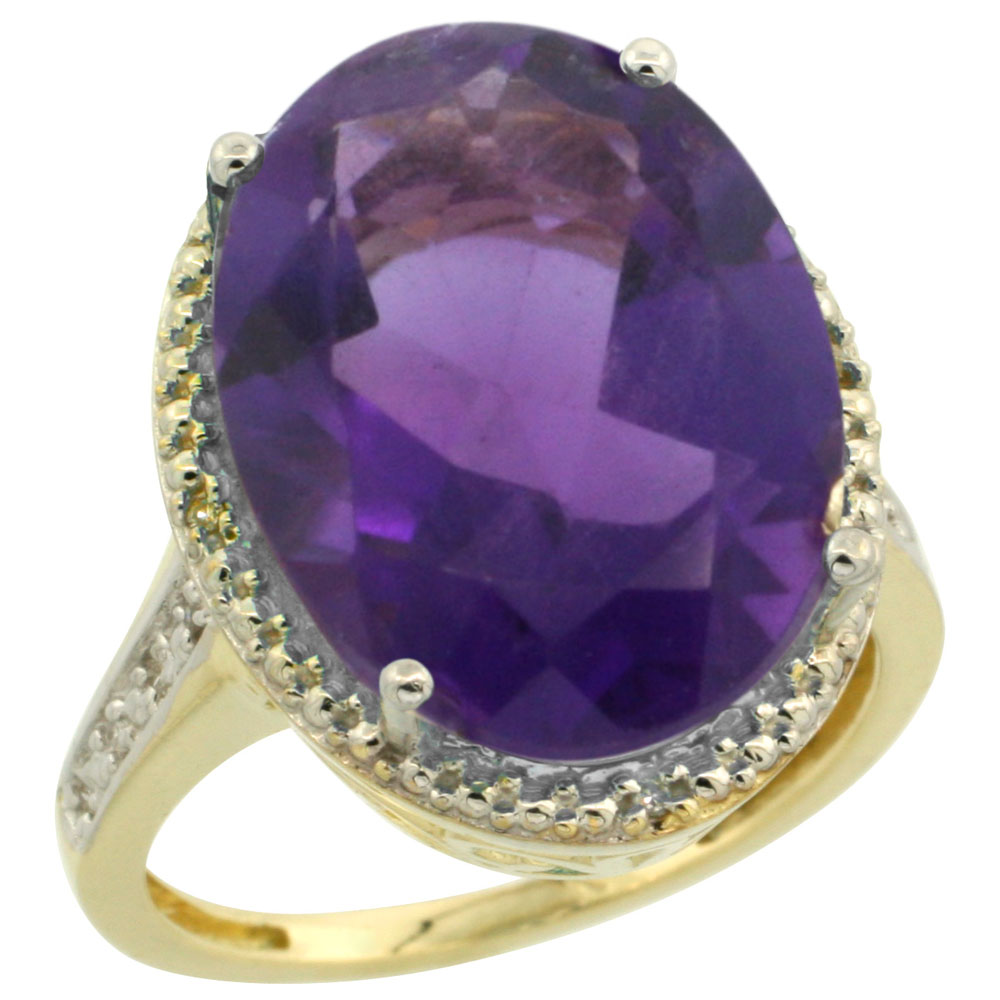 14K Yellow Gold Diamond Natural Amethyst Ring Oval 18x13mm, sizes 5-10