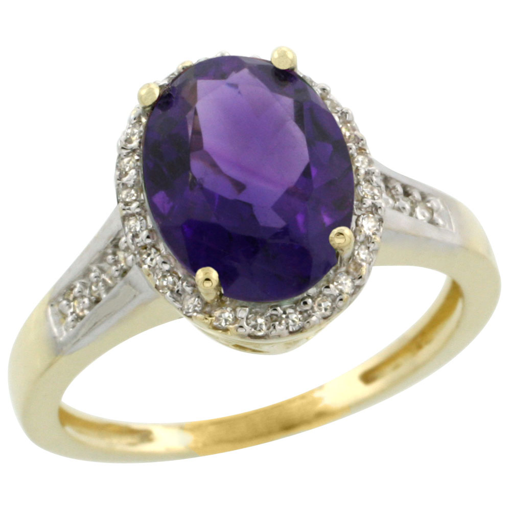 10K Yellow Gold Diamond Genuine Amethyst Engagement Ring Oval 10x8mm sizes 5-10