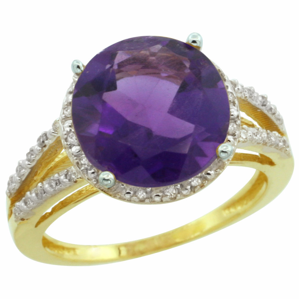 14K Yellow Gold Diamond Natural Amethyst Ring Round 11mm, sizes 5-10
