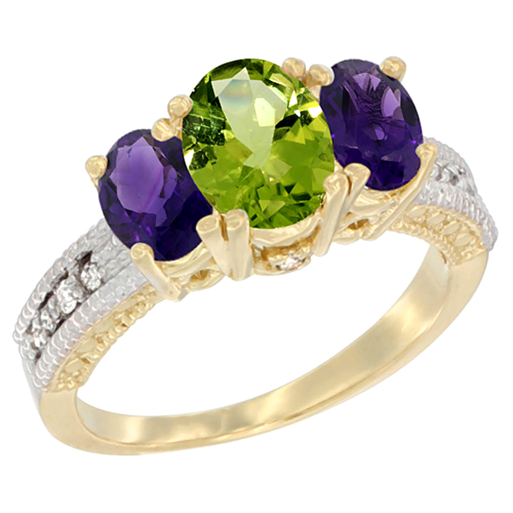 10K Yellow Gold Ladies Oval Natural Peridot Ring 3-stone with Amethyst Sides Diamond Accent