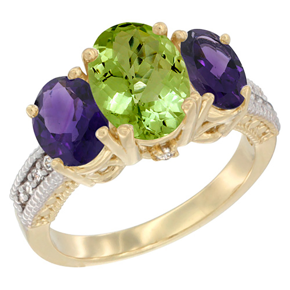 10K Yellow Gold Natural Peridot Ring Ladies 3-Stone Oval 8x6mm with Amethyst Sides Diamond Accent, sizes 5 - 10