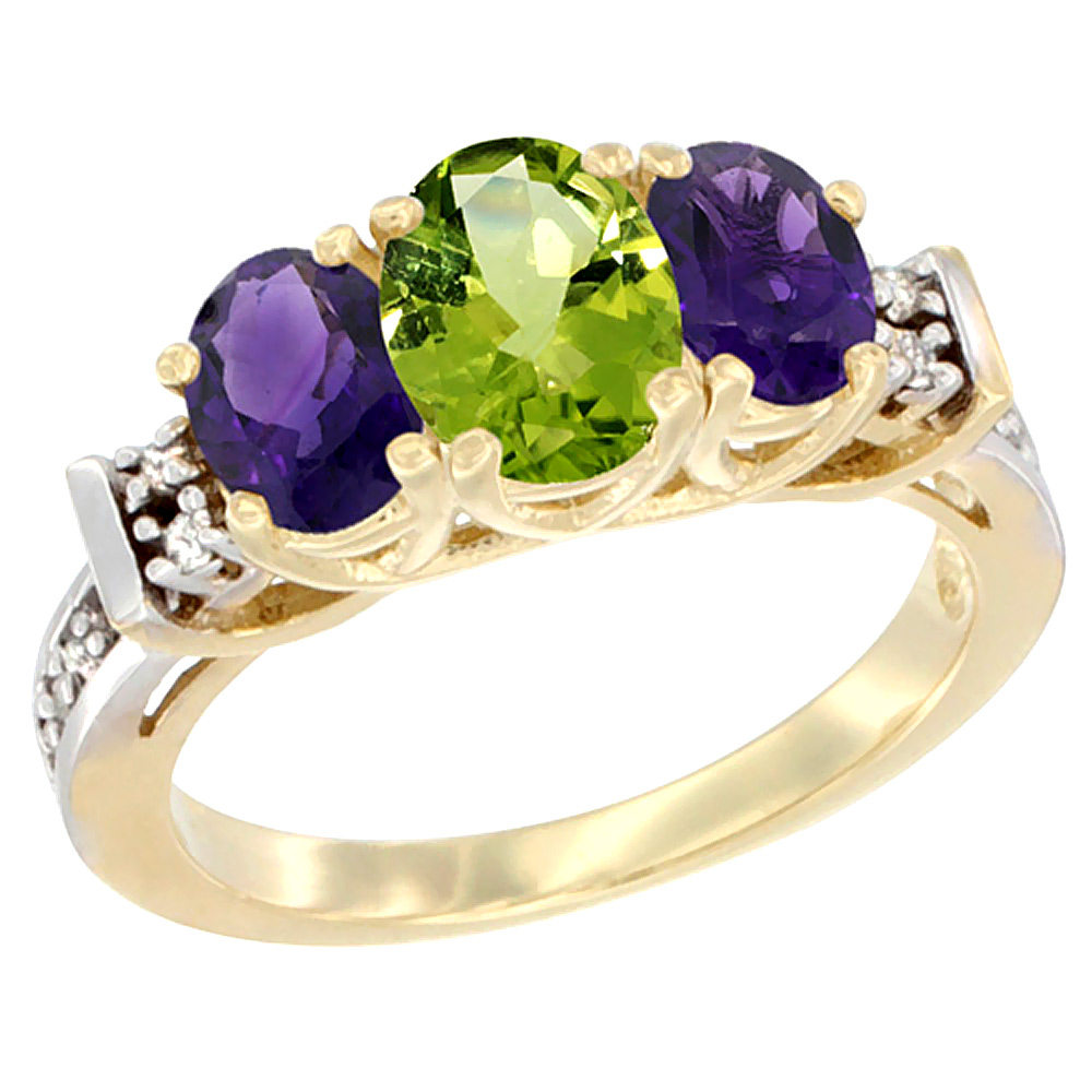 14K Yellow Gold Natural Peridot & Amethyst Ring 3-Stone Oval Diamond Accent