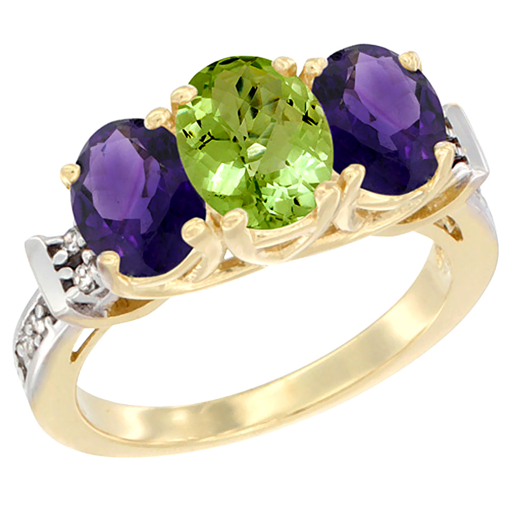 14K Yellow Gold Natural Peridot & Amethyst Sides Ring 3-Stone Oval Diamond Accent, sizes 5 - 10