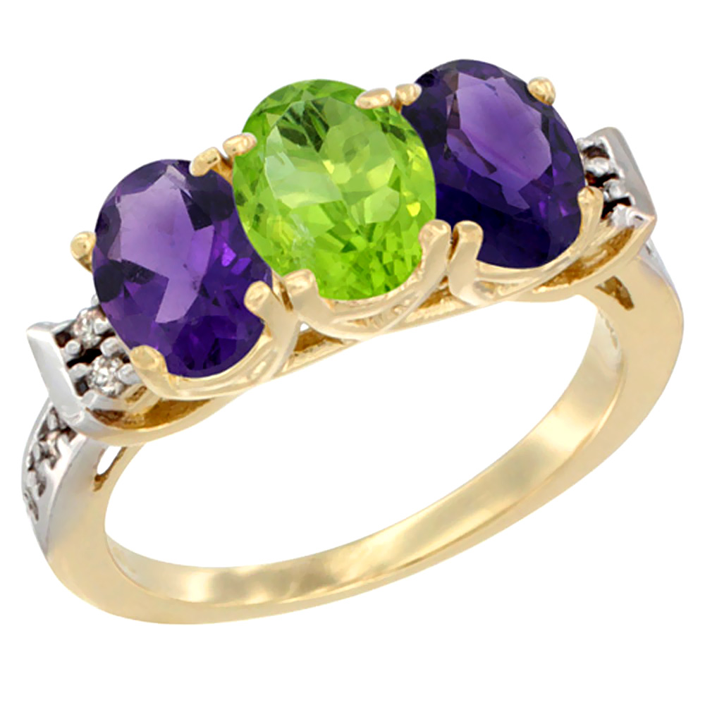14K Yellow Gold Natural Peridot & Amethyst Sides Ring 3-Stone 7x5 mm Oval Diamond Accent, sizes 5 - 10