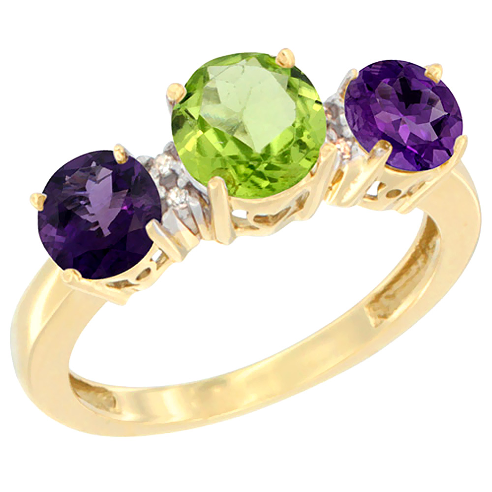 10K Yellow Gold Round 3-Stone Natural Peridot Ring & Amethyst Sides Diamond Accent, sizes 5 - 10