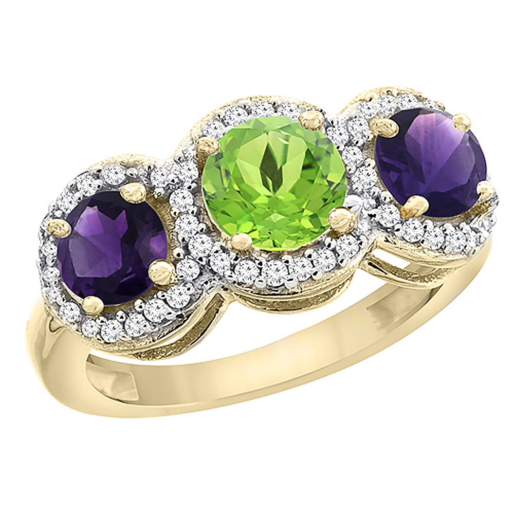 14K Yellow Gold Natural Peridot & Amethyst Sides Round 3-stone Ring Diamond Accents, sizes 5 - 10
