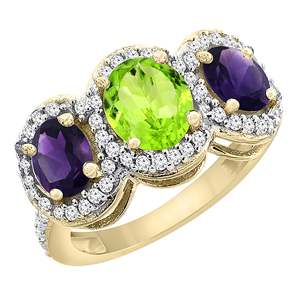 14K Yellow Gold Natural Peridot & Amethyst 3-Stone Ring Oval Diamond Accent, sizes 5 - 10