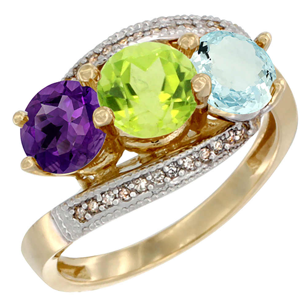 10K Yellow Gold Natural Amethyst, Peridot & Aquamarine 3 stone Ring Round 6mm Diamond Accent, sizes 5 - 10