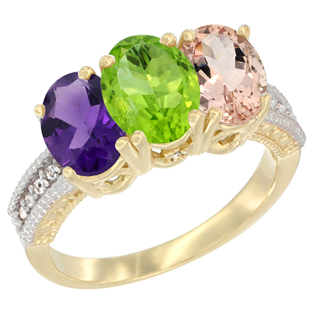 10K Yellow Gold Diamond Natural Amethyst, Peridot & Morganite Ring Oval 3-Stone 7x5 mm,sizes 5-10