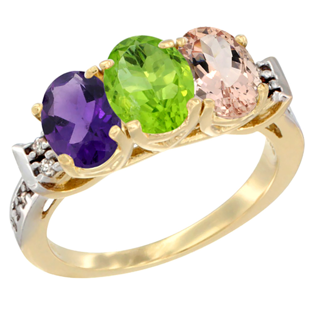 10K Yellow Gold Natural Amethyst, Peridot & Morganite Ring 3-Stone Oval 7x5 mm Diamond Accent, sizes 5 - 10