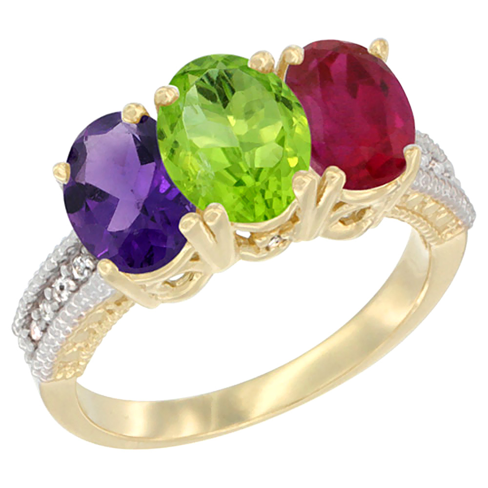 14K Yellow Gold Natural Amethyst, Peridot & Enhanced Ruby Ring 3-Stone 7x5 mm Oval Diamond Accent, sizes 5 - 10