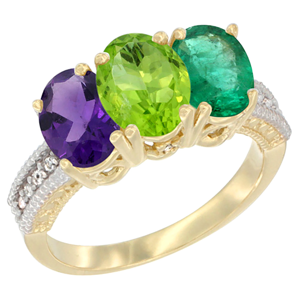 10K Yellow Gold Diamond Natural Amethyst, Peridot & Emerald Ring Oval 3-Stone 7x5 mm,sizes 5-10