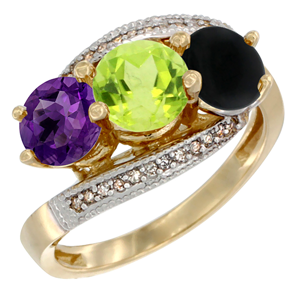 10K Yellow Gold Natural Amethyst, Peridot & Black Onyx 3 stone Ring Round 6mm Diamond Accent, sizes 5 - 10