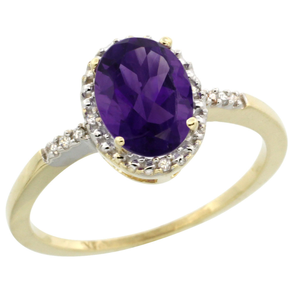 10K Yellow Gold Diamond Natural Amethyst Ring Oval 8x6mm, sizes 5-10