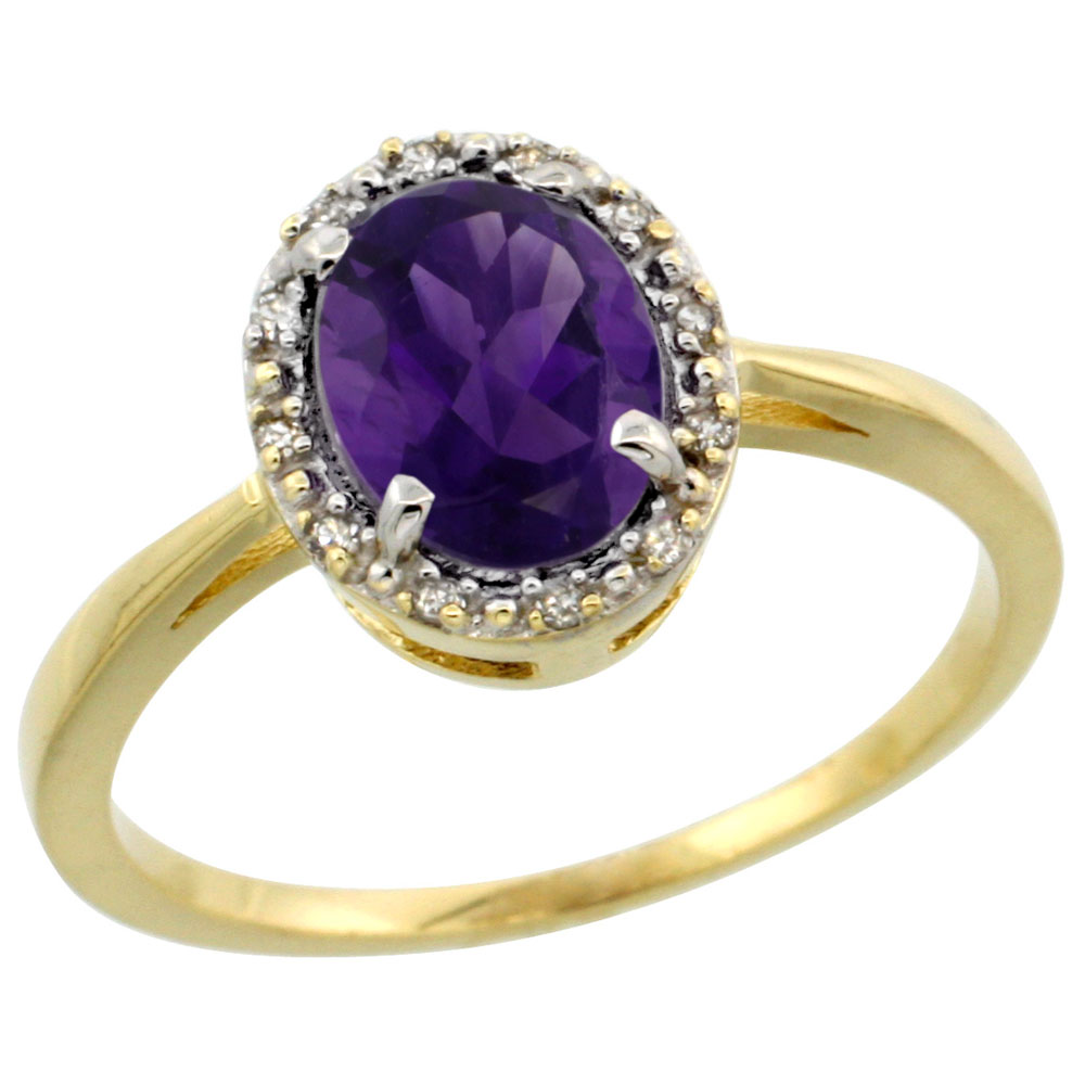 10k Yellow Gold Natural Amethyst Ring Oval 8x6 mm Diamond Halo, sizes 5-10