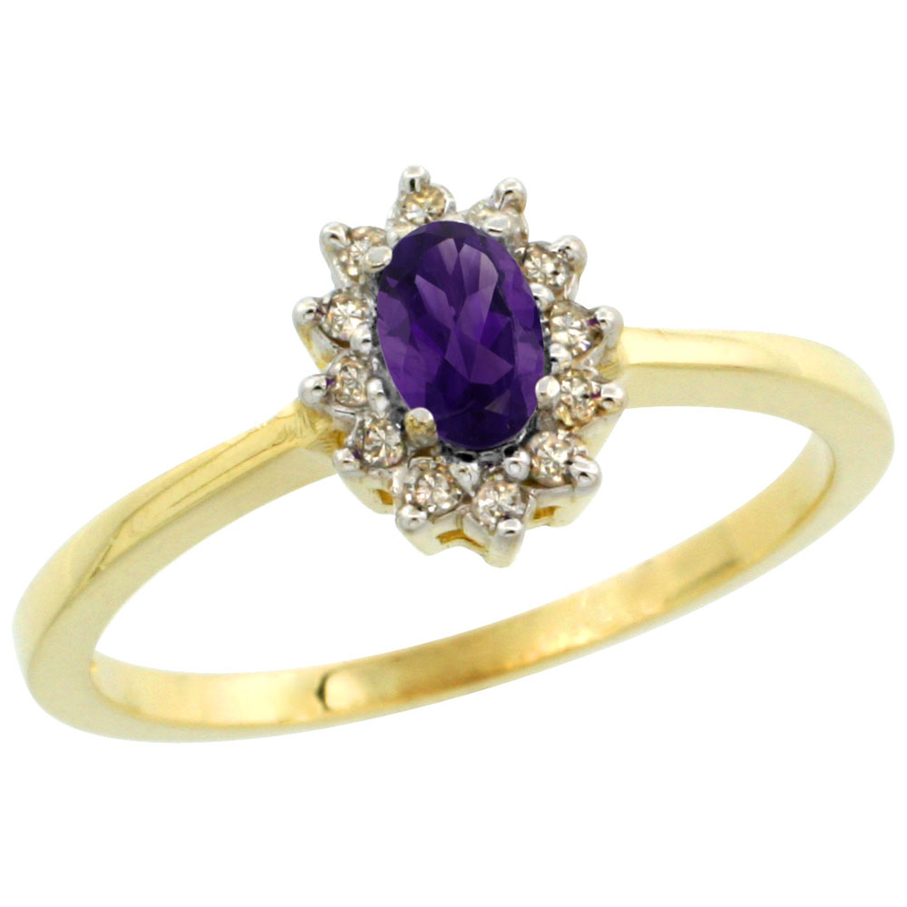 10k Yellow Gold Natural Amethyst Ring Oval 5x3mm Diamond Halo, sizes 5-10