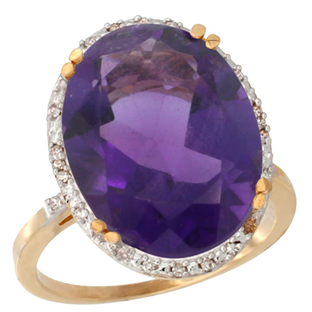 14K Yellow Gold Natural Amethyst Ring Large Oval 18x13mm Diamond Halo, sizes 5-10