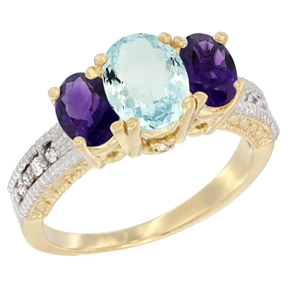 10K Yellow Gold Diamond Natural Aquamariine Ring Oval 3-stone with Amethyst, sizes 5 - 10