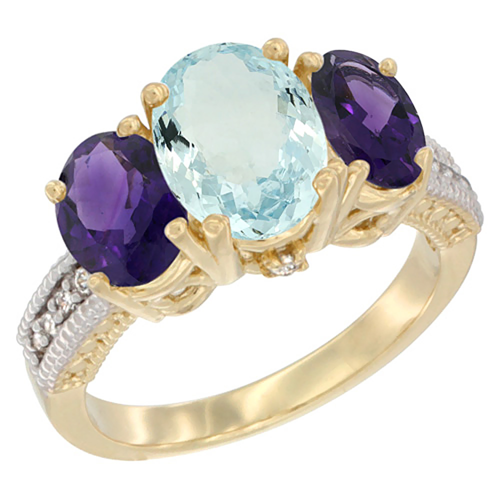 14K Yellow Gold Natural Aquamarine Ring Ladies 3-Stone Oval 8x6mm with Amethyst Sides Diamond Accent, sizes 5 - 10