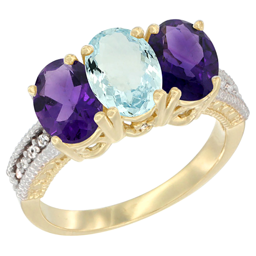 14K Yellow Gold Natural Aquamarine & Amethyst Ring 3-Stone 7x5 mm Oval Diamond Accent, sizes 5 - 10