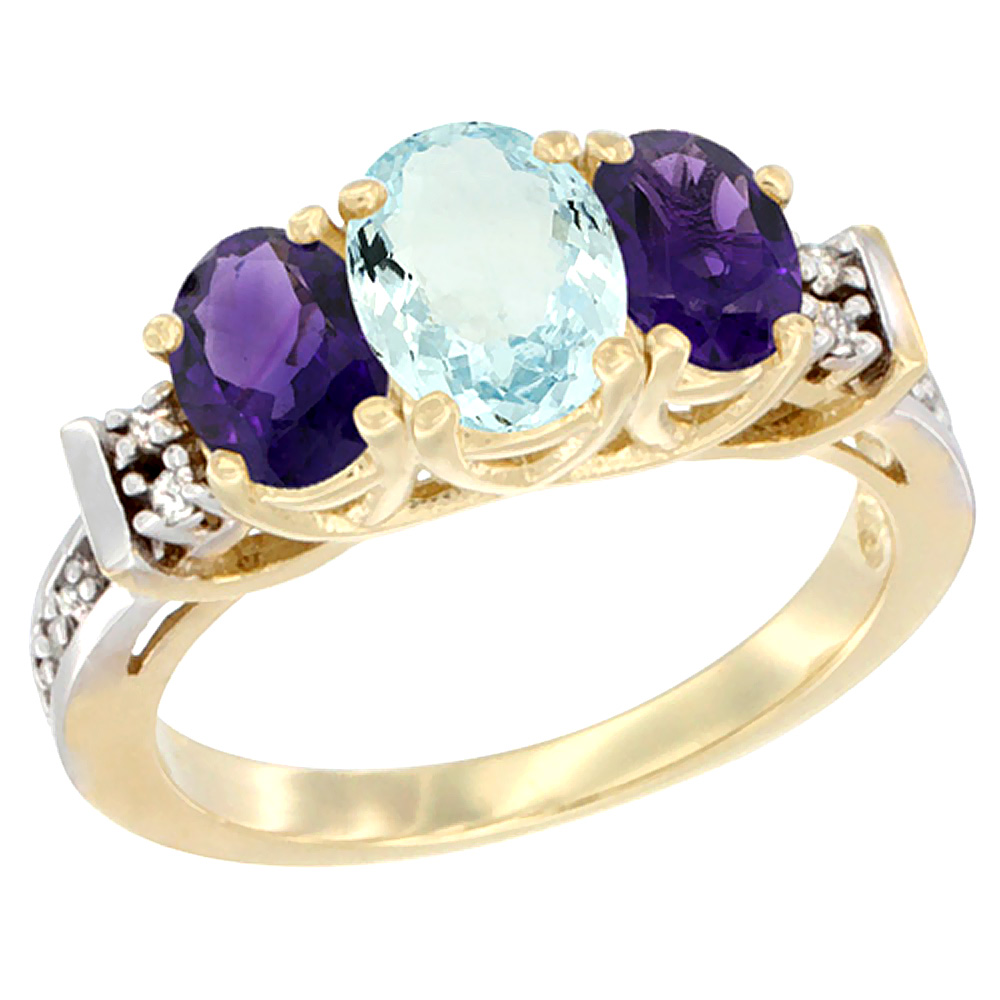 14K Yellow Gold Natural Aquamarine & Amethyst Ring 3-Stone Oval Diamond Accent